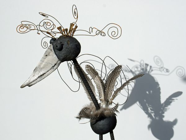 metall und ton schr ge v gel engel metall ton raku keramik. Black Bedroom Furniture Sets. Home Design Ideas